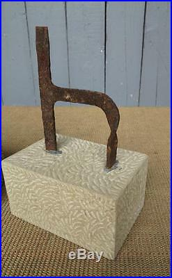 Pair of Wrought Iron Boot Scrapers on Hand Carved Stone Bases Shoe Garden