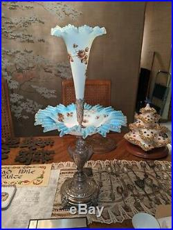 Pair of antique victorian epergne with hand painted with bird and Branch