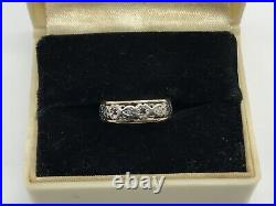Platinum & 14K Ruby Eternity Antique Band Hand Wrought Rubies Ring Victorian