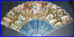 Price Lowered! Antique Hand Held Paper Fan with Spanish Theme