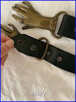 RARE 1970's Vintage Metal Victorian Clasp Holding Hands Belt Buckle