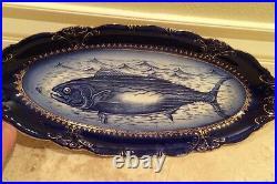 RARE ANTIQUE VICTORIAN PORCELIAN 21 Fish Platter Blue White Gold Hand Painted