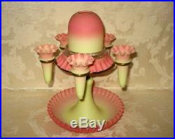 RARE Antique Hand Blown 1890's Victorian Webb Burmese Fairy Lamp Epergne