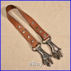 RARE VTG 70s Clasping Hands Victorian Pewter Original Leather Belt Boho Hippie