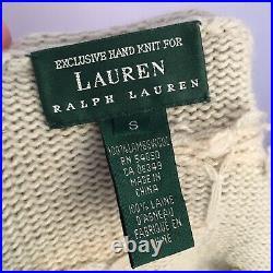 Ralph Lauren Small Hand Knit 100% Lambswool Cardigan Irish Sea Pond Dog Horse