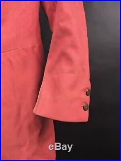 Rare 1840s Mens Hand Sewn Red Riding Coat W Gold Coin Buttons