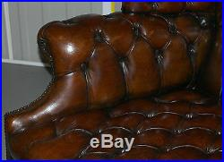 Rare 1973 Geroge III Chesterfield Hand Dyed Wingback Leather Two Seat Bench Sofa
