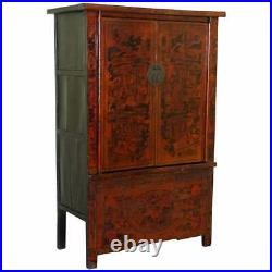 Rare 19th Century Chinese Marriage Wedding Cabinet Lacquered Hand Painted Finish