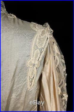 Rare Antique French Victorian Silk & Hand Made Lace High Neck Blouse Sz 36-38
