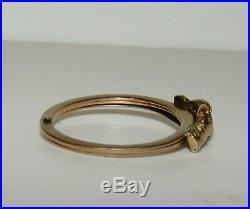 Rare, Antique Victorian 9 Ct Gold Heart And Clasped Hands Fede Gimmel Ring