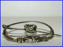 Rare, Antique Victorian Fede Clasped Hands & Irish Marble Harp Penannular Brooch