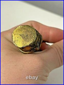 Rare Antique Victorian Gilt Bronze Elegant Ladies Hand Desk Wax Seal