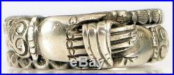 Rare Antique Victorian Sterling Silver Holding Hands Puzzle Ring Fede Gimmel S10