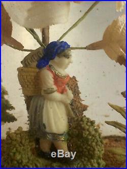 Rare Antique Wax Valentine Victorian Diorama Under Hand Blown Glass Dome