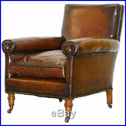 Rare Bluster Arm Hand Dyed Brown Leather Maple & Co Victorian Club Armchair