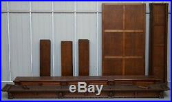 Rare Dutch Hand Carved Solid Oak Triple Bank Library Bookcase Fully Dismantles