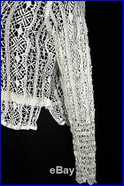 Rare French Antique Victorian-edwardian Era Hand Made White Blouse Ouse Size 38