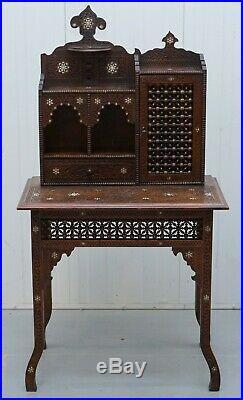 Rare Libertys London 19th Century Hand Carved Mashrabiya Desk Mother Of Pearl