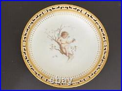 Rare Minton Anton Boullemier Hand Painted Cabinet Plate with Pierce Edging