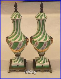 Rare Pair 15.5 Antique Victorian Rams Head Hand Painted Porcelain Brass Decor
