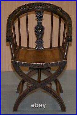 Rare Pair Of Circa 1900 Anglo Chinese Hand Carved Savonarola Armchairs Dragons