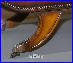 Rare Regency Scroll Arm Fully Restored Brown Leather Hand Dyed Window Bench Seat