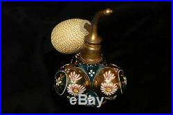 Rare SHAPE Antique Bohemian Blue Perfume Bottle Atomizer hand painted enamel