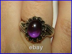 Rare, Superb, Antique Victorian Sterling Silver Fede Gimmel Hands Amethyst Ring