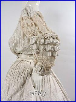 Rare Victorian Chinese Hand Emb Silk Dress Gown With Hand Made Lace Trims