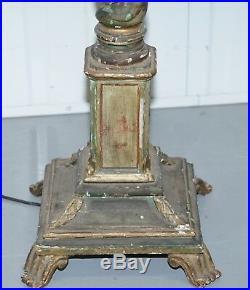 Rare Victorian Hand Painted Italian Venetian Uplighter Floor Standing Lamp