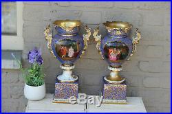 Rare antique PAIR French Vieux paris porcelain hand paint victorian scene vases