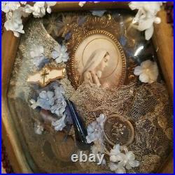 Religious Collage Victorian Hand Made Lace Catholic Reliquary Paris OOAK Antique