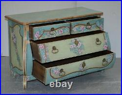 Restoration Needed Swedish Painted Serpentine Chest Of Drawers Hand Painted