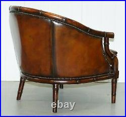 Restored Chesterfield Brown Leather Hand Dyed Suite Armchairs Sofa Faux Bamboo