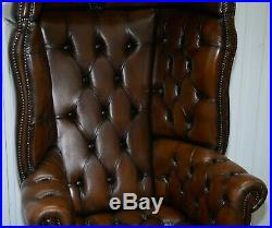 Restored Hand Dyed Cigar Brown Leather Chesterfield Porters Armchair Chair
