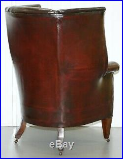 Restored Reddish Brown Hand Dyed Leather Victorian Porters Wingback Armchair