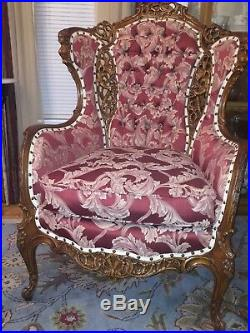 Rocco Victorian John Henry Belter hand carved antique wingback chair
