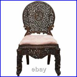 Rosewood Hand Carved Anglo Indian Burmese Chair With Floral Detailing All Over