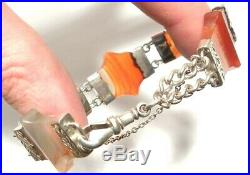 STUNNING Antique Victorian SCOTTISH AGATE Panel Hand Engraved Bracelet c1885