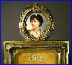 SUPERB LARGE 19th. CENTURY PICTURE FRAME & HAND PAINTED PORCELAIN MINIATURE