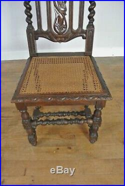 Set Of 6 19th Century Hand-Carved Victorian French Oak Dining Chairs