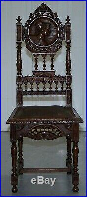 Set Of Five Nice Original French Brittany Chairs 1870 Victorian Hand Carved Oak