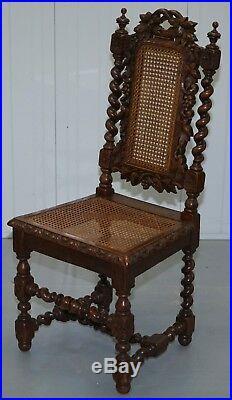 Terrific Set Of Four Jacobean Victorian Edwardian Hand Carved Oak Bralicious Painted Fabric Chair Ideas Braliciousco