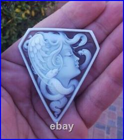 Shell Cameo Medusa Large Fine Quality Victorian Hand Engraved Brooch Pendant Top