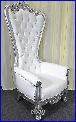Silver Baroque Hand Carved Throne Chair With White Vinyl & Crystal Buttoning