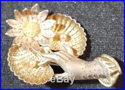 Silver & gold plate & seed pearl vintage Victorian antique hand & flower brooch