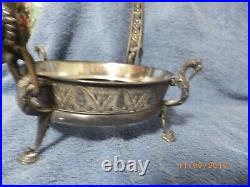 Silverplated Reed & Barton Cranes Brides Basket With Hand-Painted Glass Bowl