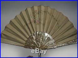 Spectacular XIX Century French Mother Of Pearl Silk Hand Painted Rare Motif Fan