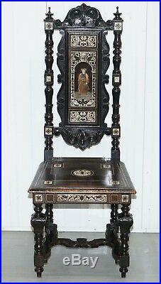 Stunning Hand Made Italian 19th Century Ebonised & Bronze Chairs 17th Century