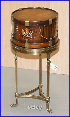 Stunning Little Side Table With Hand Painted Armorial Crests In The Form Of Drum